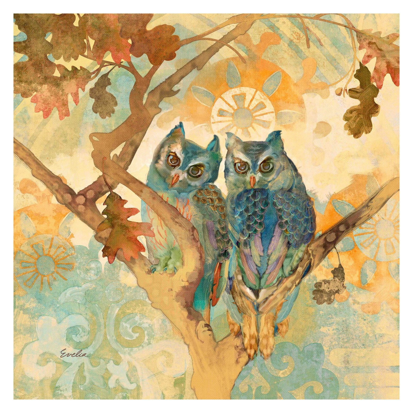 DIY Wall Sticker Removable Swing Owl Birds Colorful Scroll Flower ...
