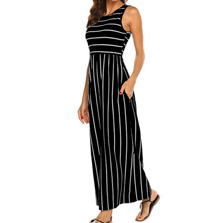 Women's Summer Sleeveless Striped Flowy Casual Long Maxi Dress with Pockets](Casual Flowy Dresses)