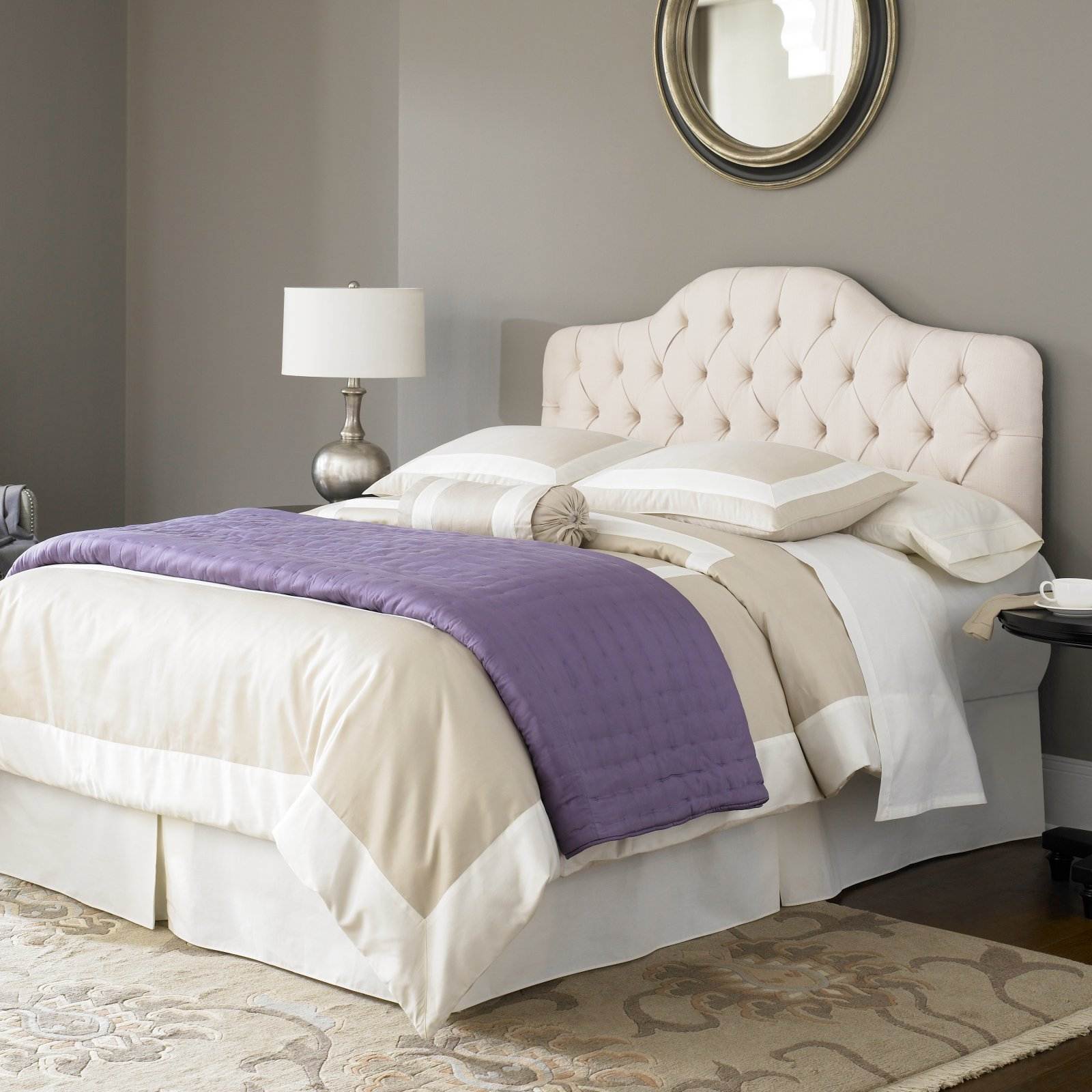 Martinique Complete Bed with Upholstered Headboard and Steel Support Frame, Ivory Finish, Multiple sizes available