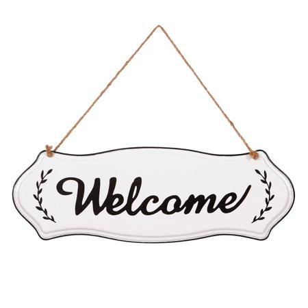 Farmhouse Hand Painted Welcome Tin Enamel Wall Sign with Jute Rope - Welcome Fall Sign