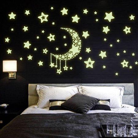 DIY Night Light Glow In The Dark Moon Stars Wall Stickers Home ...