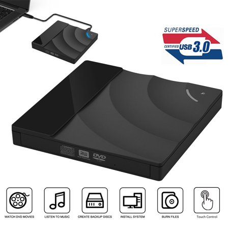 External DVD Drive USB 3.0 Burner,Optical CD DVD RW Row Reader Writer Player Portable for PC Mac OS Windows 10 7 8 XP Vista