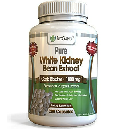 100% Pure White Kidney Bean Extract 1800mg serving (200 Capsules) Best Carb and Fat Blocker & Starch Intercept Supplement For Weight