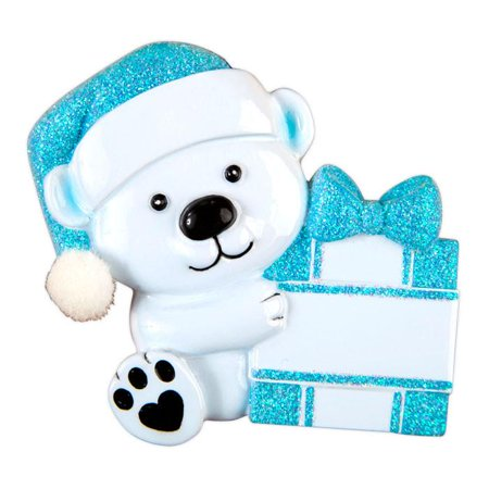 Baby Bear Hold Presen Blue Personalized Christmas Ornament (Baby Bear Ornament)