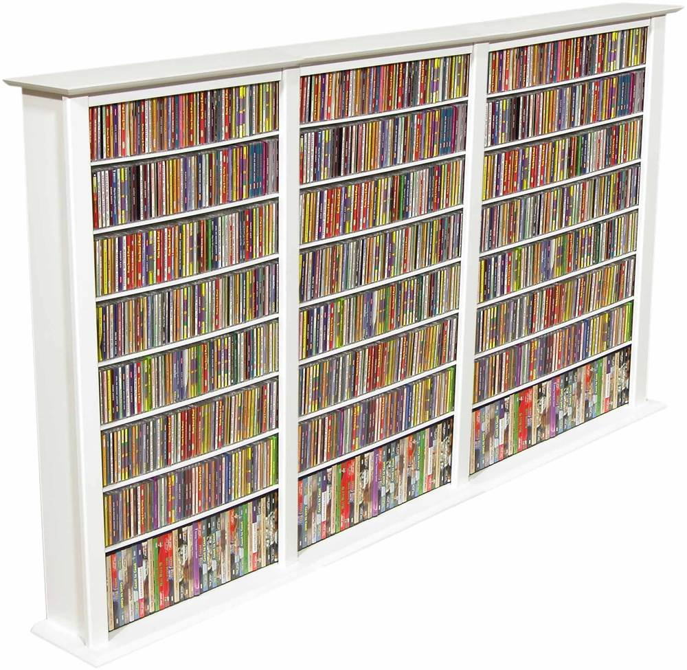 Triple Wide Front View Media Storage Tower w White Finish