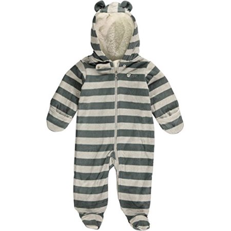 Baby Boys' Striped Fleece Pram- Gray - 6