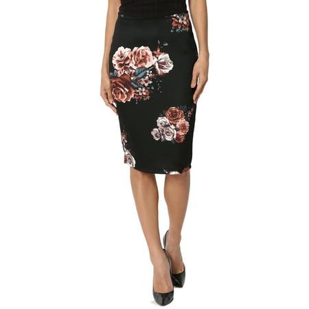 (TheMogan Women's Pull On High Waist Floral Print Bodycon Pencil Knee Midi Skirt)