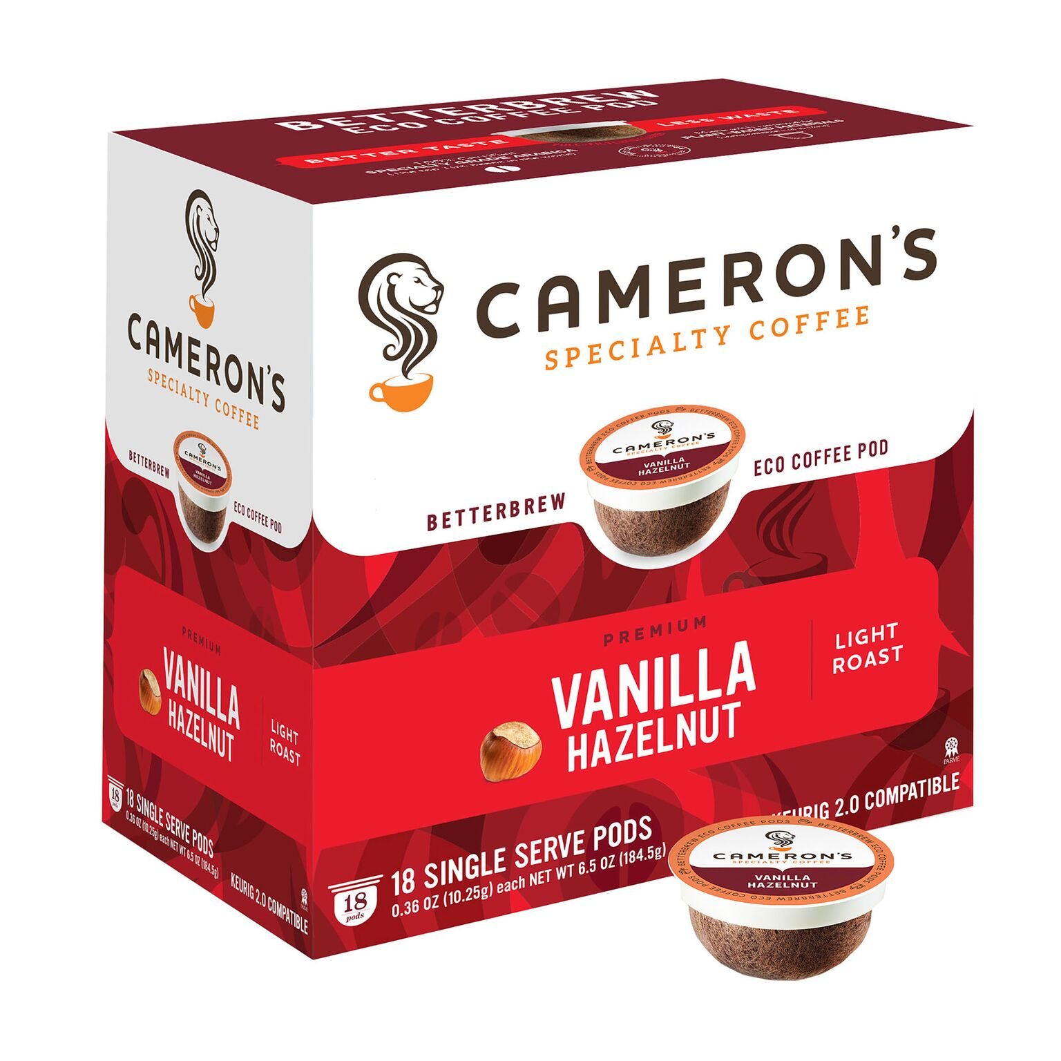 Cameron's Specialty Coffee Vanilla Hazelnut Single Serve Pods, 18 count