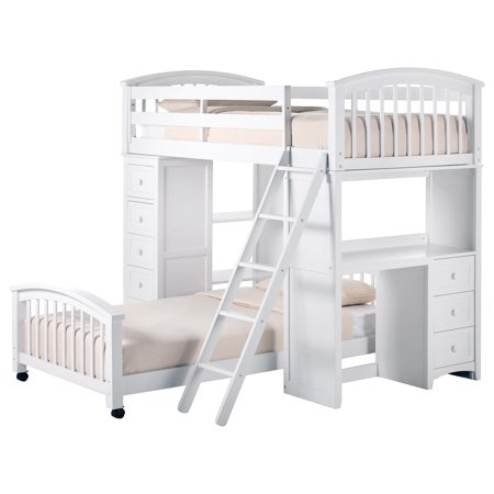 Hillsdale School House Student Loft With Twin Lower Bed, White
