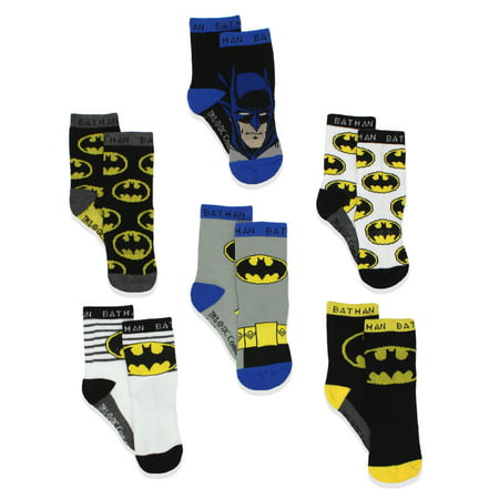 Batman Boy's 6 pack Athletic Crew Socks (Baby/Toddler) BM7776B](Batman Items)
