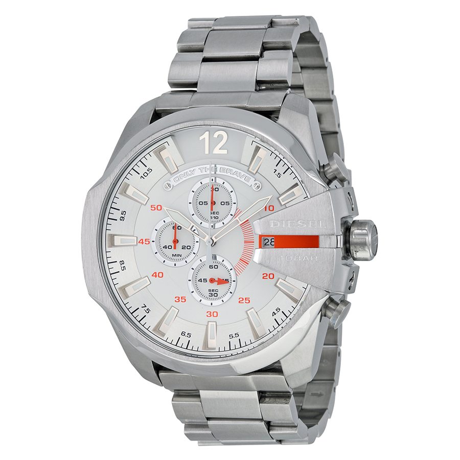 Diesel Mega Chief Chronograph White Dial Stainless Steel Mens Watch DZ4328