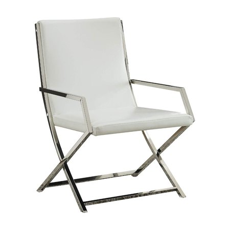 Benzara Polyurethane Upholstered Metal Accent Chair with High Backrest, White and Silver