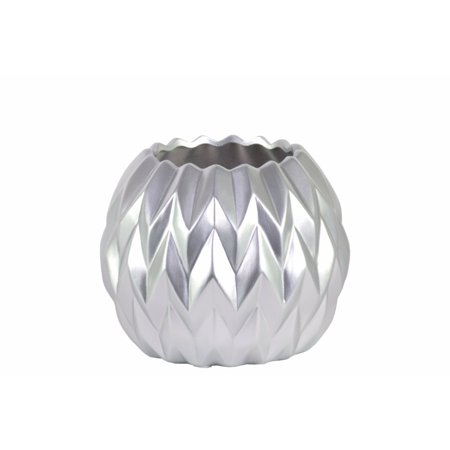 Round Low Vase with Uneven Lip, Wave Design- Small- Silver- Benzara for $<!---->