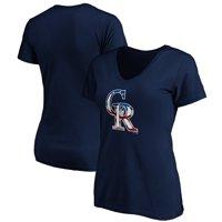 Colorado Rockies Logo Fanatics Branded Women's Banner Wave V-Neck T-Shirt - Navy