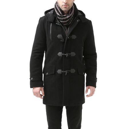 BGSD Mens Tyson Wool Blend Leather Trimmed Toggle Coat (Regular & Tall) Black Leather Toggle