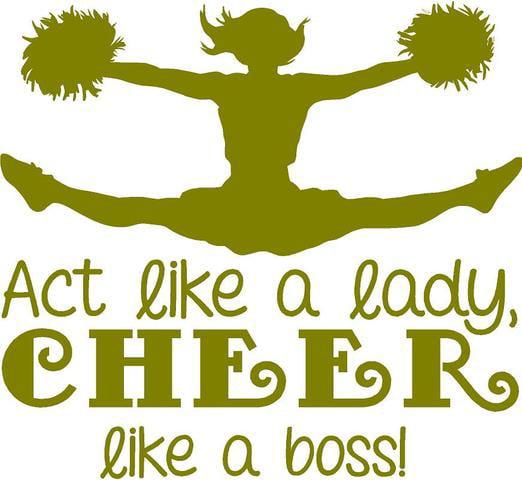 "Cheerleading Wall Decal ""Act Like a Lady, Cheer like a Boss"" | Cheerleader Girl's Bedroom Sticker | 20""x20"""