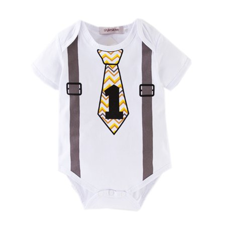 Short Sleeve Bow Tie - Baby Toddler Boy Chic Bow Tie Cotton Short Sleeves Romper with Printed Suspenders (90/18-24 Months, Wave Tie)