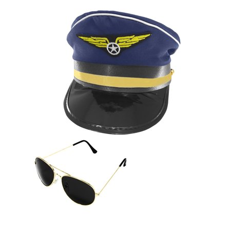 Airplane Pilot Airline Aviator Sunglasses Navy Captain Hat Cap Adult Costume Set - Airplane Pilot Hat