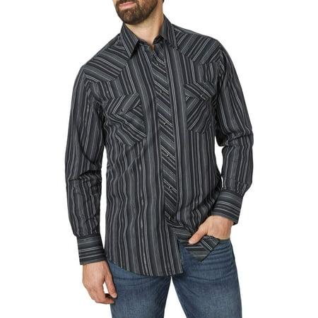 Wrangler Men's Long Sleeve 2 Pocket Western Shirt Embroidered Black Western Shirt