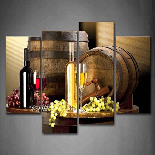 Various Wine With Grape Wall Art For Kitchen Painting Pictures Print On Canvas Food The Picture Home Modern Decoration Walmart Com