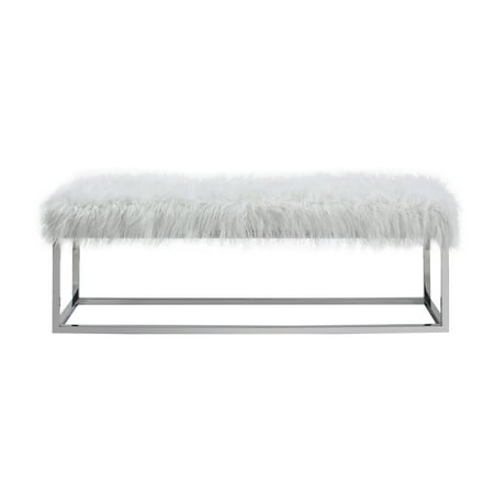 Phenomenal Emerald Home Diva Upholstered Bench With Faux Fur Seat And Chrome Legs Snow White Uwap Interior Chair Design Uwaporg