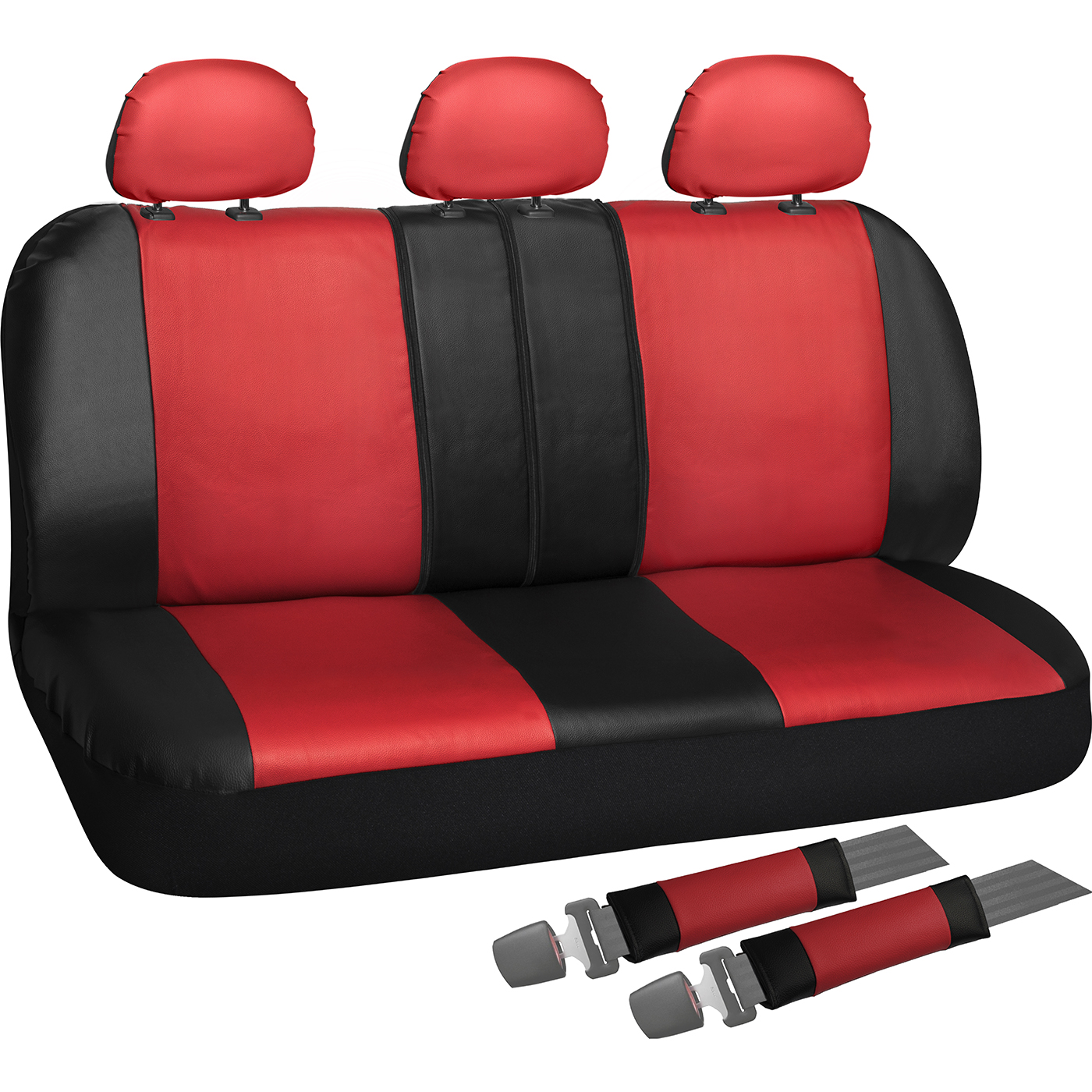 OxGord Back Seat Cover - PU Leather with Two-Toned Rear Bench Universal Fit Car, Truck, SUV, Van - 8 Piece