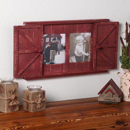 Rustic Barn Door Photo Frame, Country Red