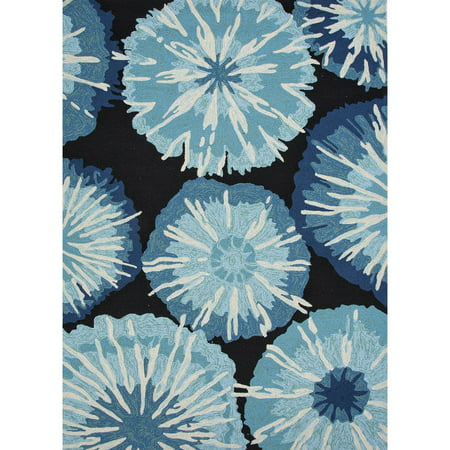 Image of 3.5' x 5.5' Baby Blue, Cobalt Blue, Black and White Starburst Design Outdoor Area Throw Rug