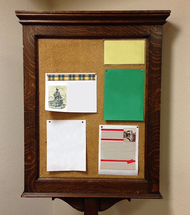 Canvas Print Bulletin Board Antique Board Wood Flyers Bulletin Stretched Canvas 10 x 14 by