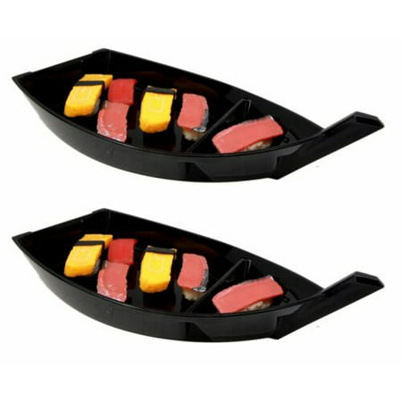 Ebros Gift Japanese Traditional Black Plastic Lacquer Sushi Fishing Boat Serving Plate Set of Two For Sushi Sashimi Kitchen Home Dining Decorative Dinnerware Party Hosting Display
