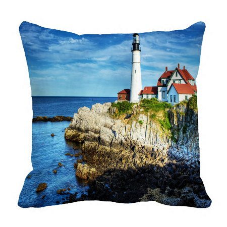 ZKGK Lighthouse of the Beach Pillowcase Home Decor Pillow Cover Case Cushion Two Sides 18x18 Inches