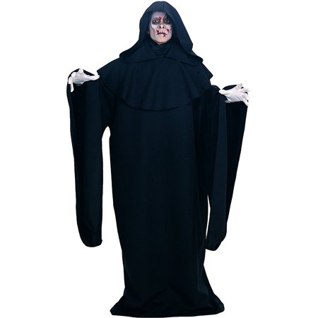 Adult Mens Scary Black Grim Reaper Costume Plus Size 44-52 Horror Robe With Hood