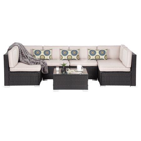 Oakville Luxury Modern 7 Piece Outdoor Patio Garden Furniture Wicker Rattan Sectional Sofa Conversation Set Black Beige Cushion