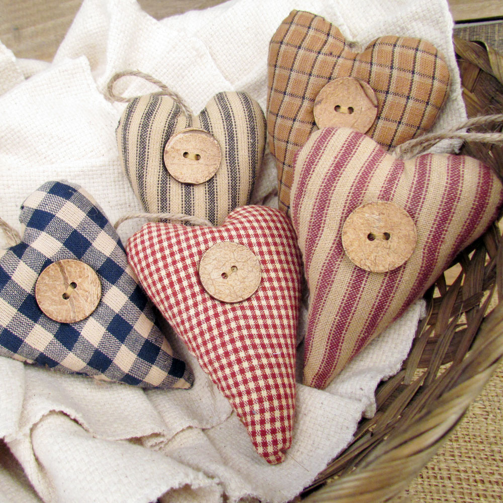 Primitive Homespun Fabric Rustic Heart Christmas Ornaments - Set of 5 - by Jubilee Creative Studio