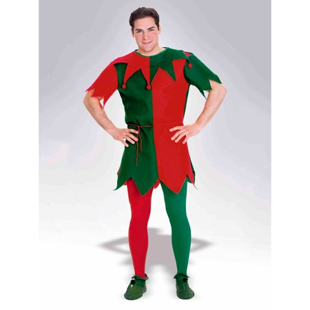 Adult Red and Green Elf Tights (Elf Halloween Mystery Bag)