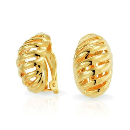 Twist Shrimp Oval Dome Half Hoop Clip On Earrings For Women Non Pierced Ears Shinny 14K Gold Tone Plated Brass