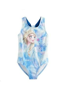 Elsa Frozen 2 One-Piece Swimsuit - Little Girls - Blue - Sizes 4, 5/6 and 6X