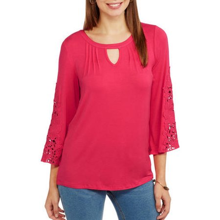 JPR Premium Women's Lace Sleeve Peasant Blouse