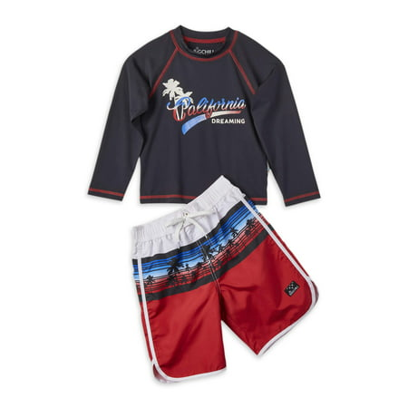 Big Chill Boys 4-14 Long Sleeve Rash Guard Swim Shirt and Swim Trunks, 2-Piece Set