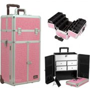 Sunrise I3465CRPK 6 Tiers Pink Crocodile Printing Texture Professional Makeup French Door Opening Case with Split Drawers