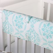 The Peanut Shell Baby Crib Rail Guard - Turquoise Teal Blue Floral Medallion Print - 100% Cotton Sateen Cover, Polyester Fill