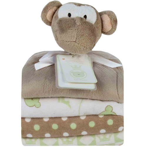 Piccolo Bambino Cuddly Pal and 3 Flannel Receiving Blankets, Brown Monkey