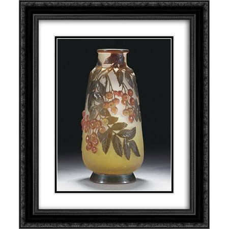(Emile Galle 2x Matted 20x24 Black Ornate Framed Art Print 'Mould-Blown Cameo Glass Vase')
