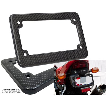 ICBEAMER Racing JDM Style Universal Fit any kind of Motorcycle Real Carbon Fiber License Plate Frame [Pack of 1 (Motorcycle Frame)