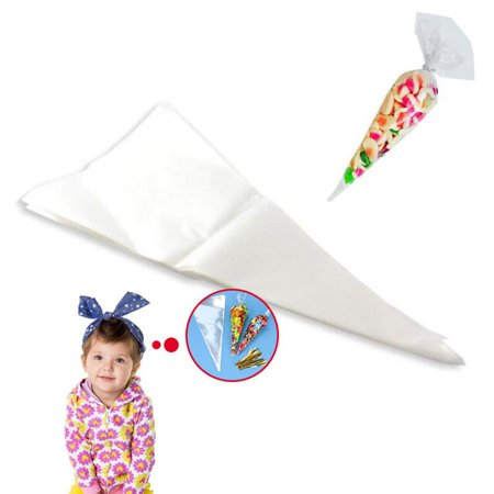 Cone Bags (CUH 25/50/100PCS Clear Cellophane Cone Shaped Treat Bags Sealed Triangle OPP with Ties for Candy)