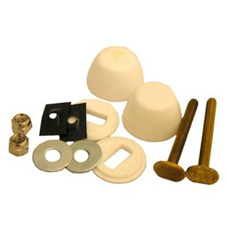 04-3639 Toilet Bolt Kit, 2-1/4-Inch Solid Brass Bolt, 1/4-Inch Acorn Nuts, Stainless Steel Washers and Round Cover Caps, White, The product is.., By
