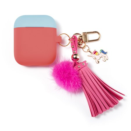 Oem Pink Silicone Case (Allytech Airpods Case Cover, Apple Airpods 1st / 2nd Generation Case, Silicone with Cute Tassels Protective Shockproof Case Cover for Girls Women, Rose)