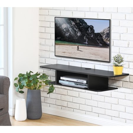FITUEYES Wall Mounted Media Console,Floating TV Stand Component Shelf,Black (Steel Component Stand)