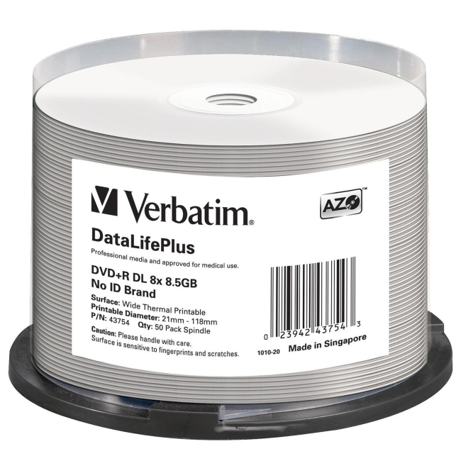 Verbatim DVD+R 8.5GB 8x Double-Layer Thermal Printable Spindle, 50pk