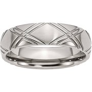 Stainless Steel Criss-Cross Design 6mm Brushed and Polished Band, Available in Multiple Sizes